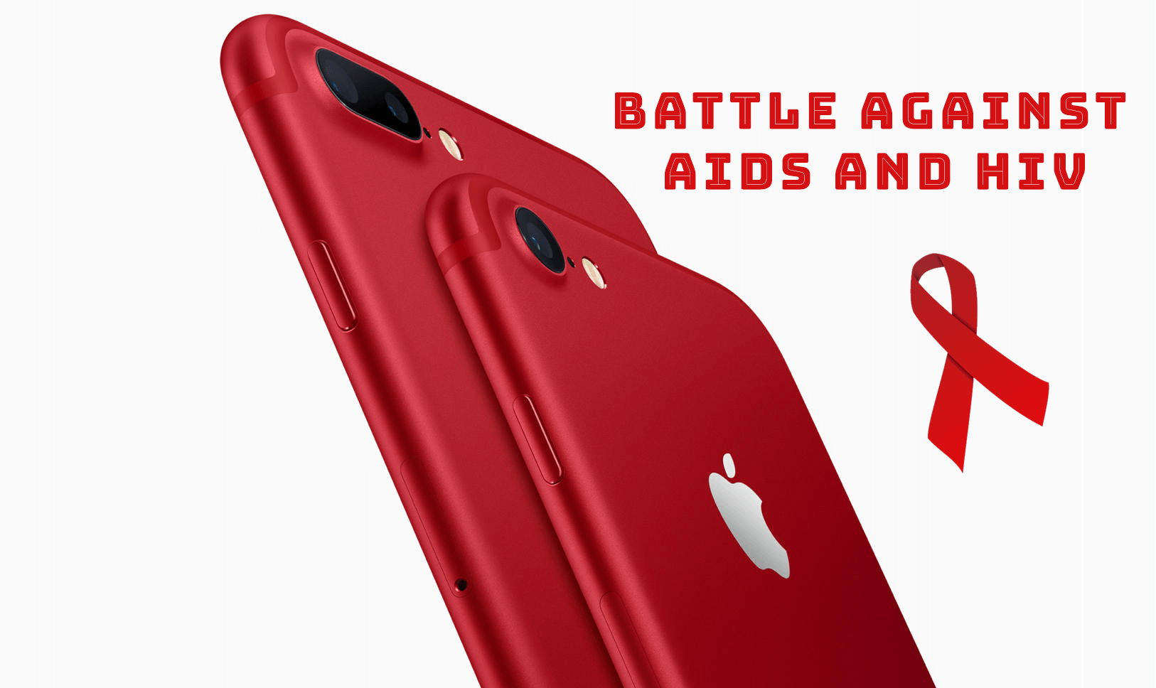 Red iPhone 7 and iPhone 7 plus AIDS and HIV - unbox cell