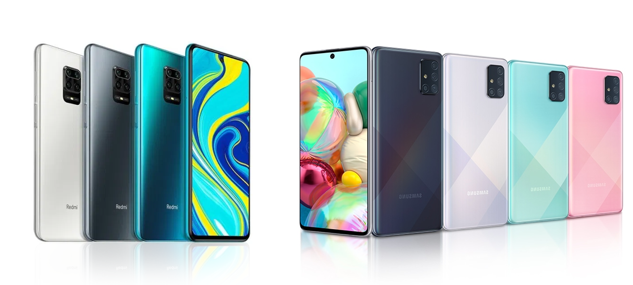 Samsung A71 vs Redmi Note 9s compare: unbox cell